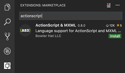 Screenshot of search for ActionScript & MXML extension