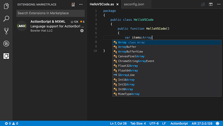 Screenshot of ActionScript & MXML language extension for Visual Studio Code